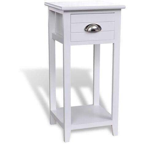 Table de chevet avec 1 tiroir Blanc