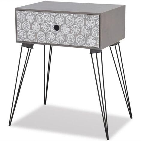 Table de chevet avec 1 tiroir rectangulaire Gris
