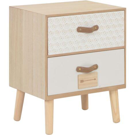 Table de chevet avec 2 tiroirs 40x30x49,5 cm Bois de pin massif