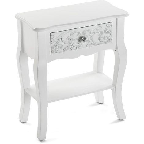 2 x blanc l 48 x 25 avec coloris chevet tiroirs L Table de E9WIH2D