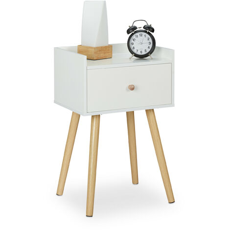 Table de chevet, avec tiroir et rangement, meuble rétro, chambre, MDF, HLP : 62 x 40 x 32 cm, blanc/nature
