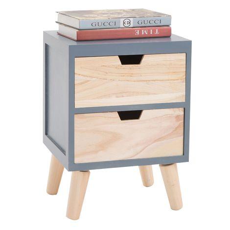 Table de chevet BAHIA meuble de nuit avec 2 tiroirs en bois de paulownia style vintage rétro scandinave, coloris gris et bois