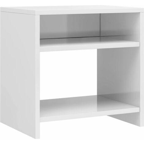 Table de chevet Blanc brillant 40 x 30 x 40 cm Aggloméré