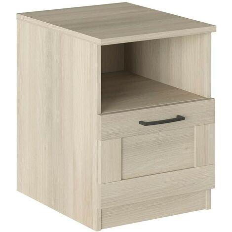 Table de chevet Chêne avec tiroir et compartiment série Helsinki   Chêne clair