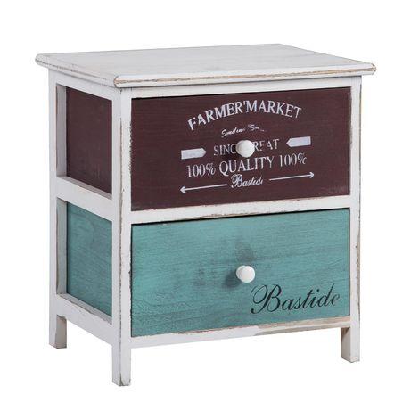 Table de chevet COLORIS table de nuit 2 tiroirs colorés en bois de paulownia style shabby chic vintage rustique rétro blanc