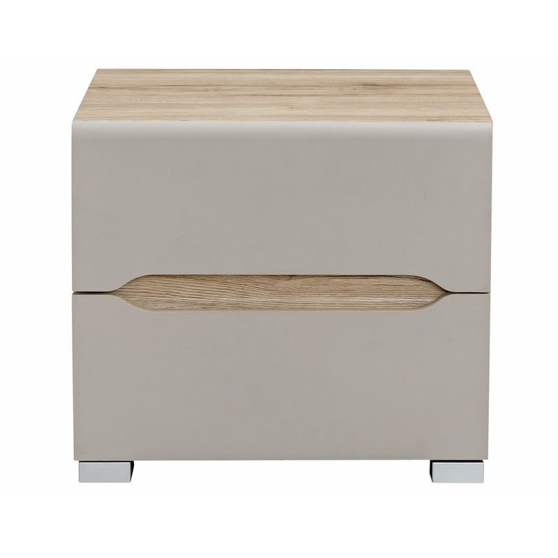 Table De Chevet Design Bois Clair Et Taupe Willy