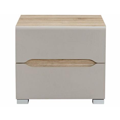 Table de chevet design bois clair et taupe WILLY - 46305