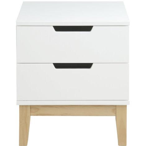 Table de chevet design bois et blanc 2 tiroirs SNOOP