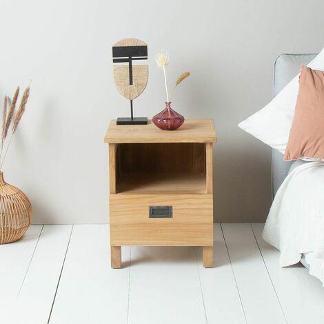 Table de chevet en bois de teck 45 cm - Naturel