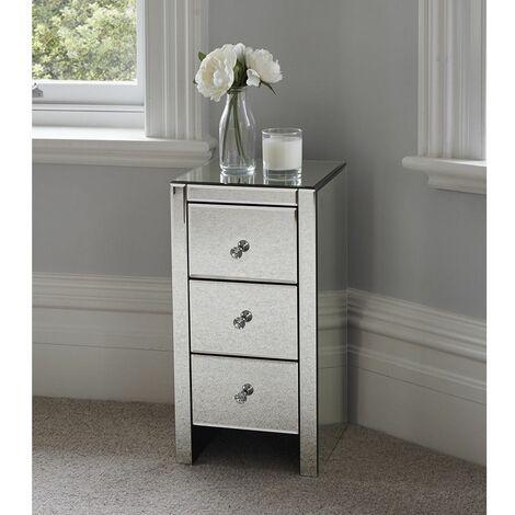 """main image of """"Table de chevet en verre miroir avec trois tiroirs"""""""