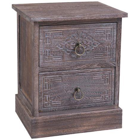 Table de chevet ENZO table de nuit avec 2 tiroirs, en bois de paulownia brun gris style vintage ethnique bohême avec gravures