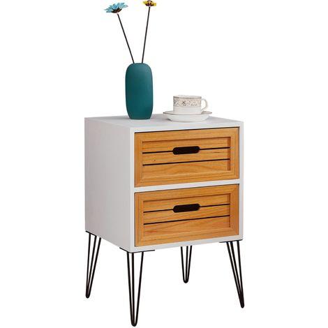 Table de chevet ESTORIL meuble de nuit avec 2 tiroirs de coloris blanc et bois naturel avec pieds épingle en métal noir