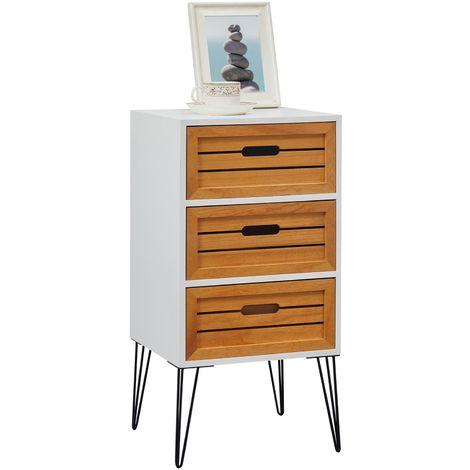 Table de chevet ESTORIL meuble de nuit avec 3 tiroirs de coloris blanc et bois naturel avec pieds épingle en métal noir