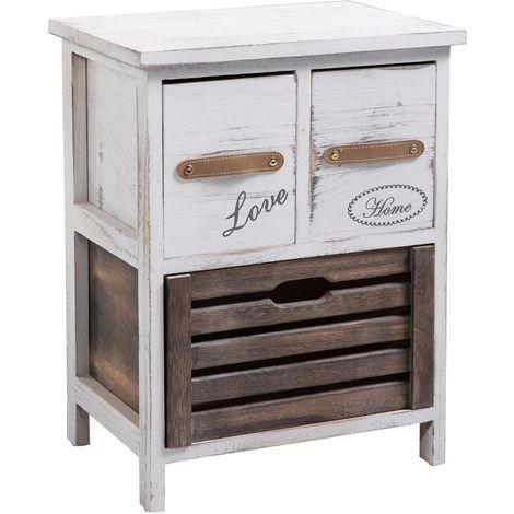 Table de chevet FLEUR petite commode de nuit avec 2 petits et 1 grand tiroirs, en bois de paulownia blanc style shabby chic vintage