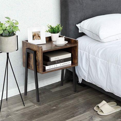 table de chevet industriel pieds en m tal avec. Black Bedroom Furniture Sets. Home Design Ideas