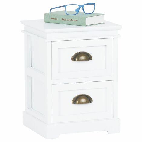 Table de chevet LANDHAUS table de nuit 2 tiroirs en bois de paulownia style shabby chic vintage classique blanc