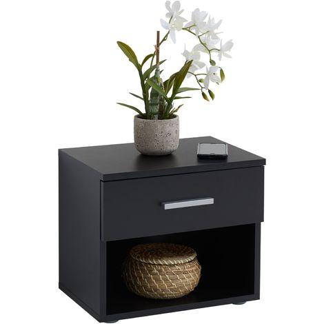 Table de chevet MAEL, table de nuit casier avec 1 tiroir et 1 niche, en mélaminé noir mat
