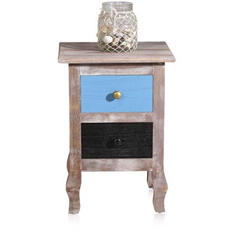 table de chevet maison de campagne en bois 2 tiroirs bleu Used Shabby