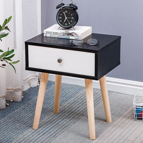 Table de chevet minimaliste nordique avec glissière de tiroir noir (tiroir blanc) 40 * 30 * 50CM 1pcs