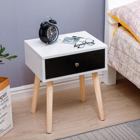 Table de chevet minimaliste nordique avec glissière de tiroir, table de chevet blanche (tiroir noir) 40 * 30 * 50CM 1pcs