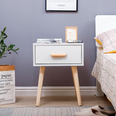 Table de chevet minimaliste nordique avec glissières de tiroir blanc 40 * 40 * 50CM 1pcs