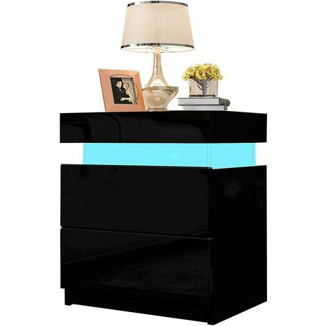 Table de Chevet Noir- Table de Nuit - Moderne, 2 Tiroirs, LED RGB, Matériel MDF, Poids 18kg, Taille (LxLxH): 35x45x52cm