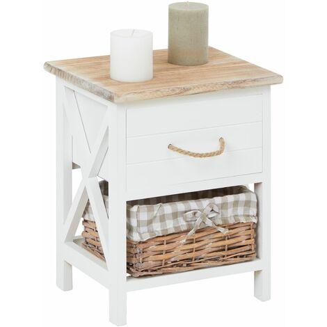 Table de chevet PERUGIA table de nuit 1 tiroir et 1 panier en bois de paulownia style shabby chic vintage rustique campagnard blanc