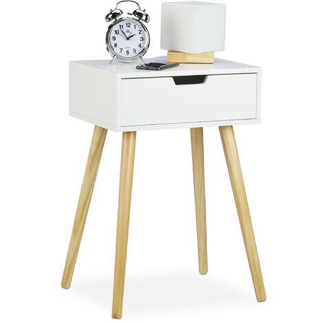 Table de chevet, petit meuble, design moderne,1 tiroir, pour lit avec sommier HlP 60x40x30cm,blanc/nature