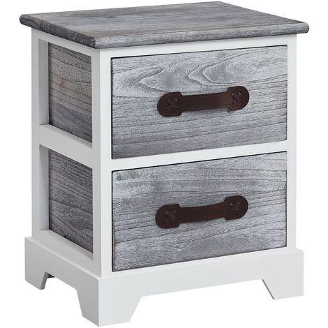 Table de chevet SALERNO table de nuit 2 tiroirs en bois de paulownia style shabby chic vintage vieilli gris blanc