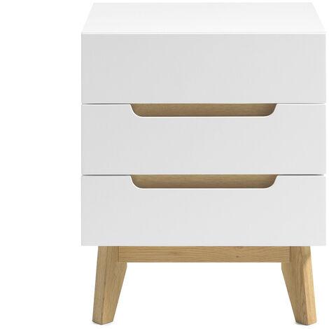 Table de chevet scandinave 3 tiroirs blanc mat et bois SKIVE