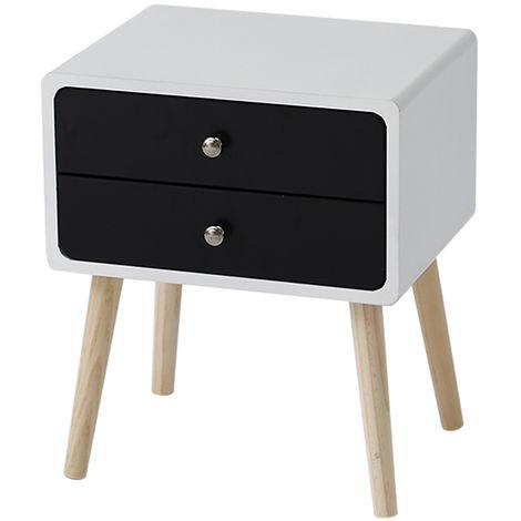 Table de chevet simple scandinave avec tiroirs coulissants Table de chevet blanc-noir