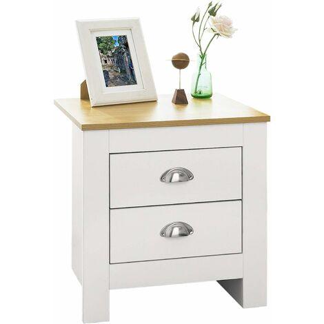 Table de Chevet Table de Nuit Bout de Canapé Table d'Appoint avec 2 tiroirs - Blanc,SoBuy® FBT86-W
