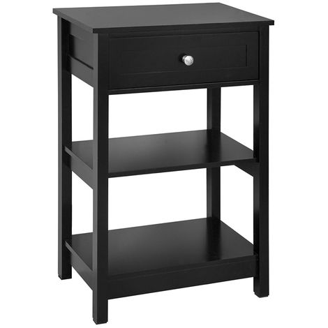 Table de Chevet Table de Nuit Bout de Canapé Table d'Appoint avec - Noir FBT46-SCH SoBuy®