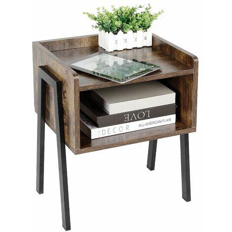 Table de chevet, Table de nuit, industriel Pieds en métal avec compartiment vintage 42 x 35 x 52 cm (Lxlxh)