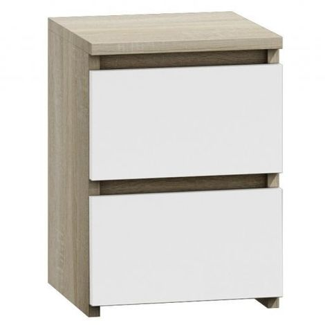 Table de chevet table de nuit moderne avec 2 tiroirs malwa m2 sonoma blanc top malwam2 mix - Table de chevet moderne ...