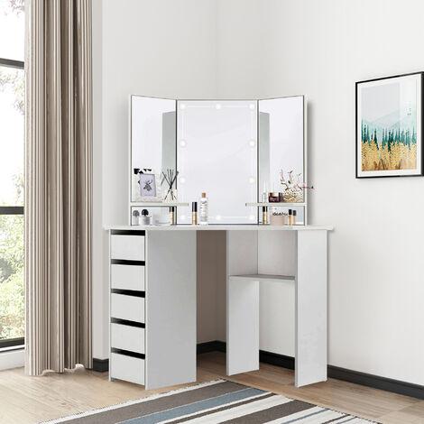 """main image of """"Table de coiffeuse maquillage blanc avec miroir éclairage LED tiroirs étagères"""""""