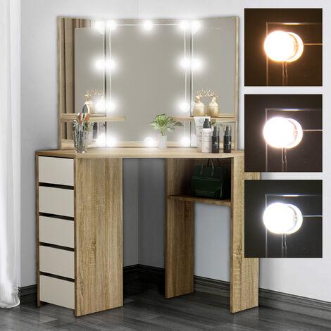 """main image of """"Table de coiffeuse maquillage sonoma avec miroir éclairage LED tiroirs étagères"""""""