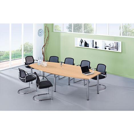 Table de conférence - variante de piétement pieds en tube rond, pour 10 personnes - gris clair   KT28C/5