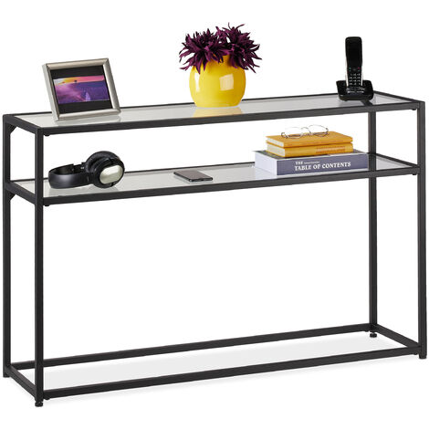 Table de console, 2 surfaces, meuble d'appoint étroit, couloir & salon, métal, verre, HLP 70x110x30 cm, noir