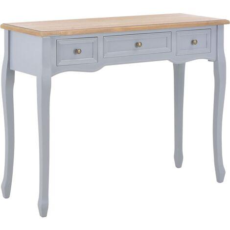 Table de console et coiffeuse avec 3 tiroirs Gris