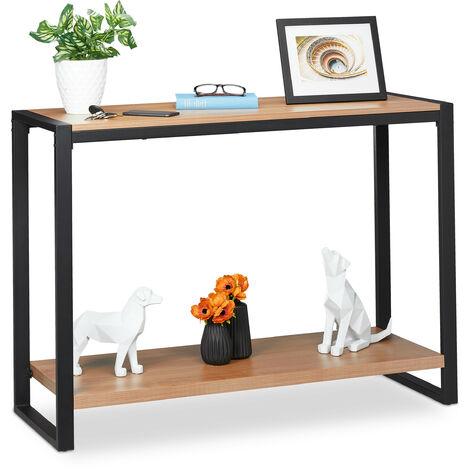 Table de console, meuble d'appoint avec 2 surfaces, salon, cuisine & couloir, HLP 80 x 110 x 40 cm, brun/noir