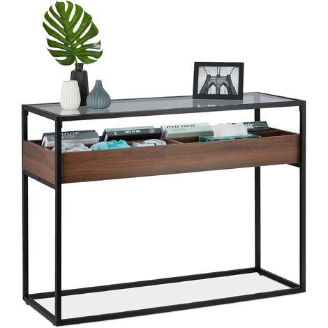 Table de console, support en verre, 4 compartiments, étroit, entrée, salon, HLP 80 x 110 x 40 cm, noir/marron