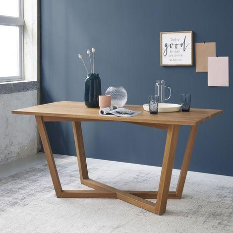 Table de cuisine bois de teck 6 à 8 couverts - Naturel