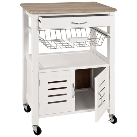 Table de cuisine roulante blanc-chêne clair, L58 x H84 x P37 cm -PEGANE-