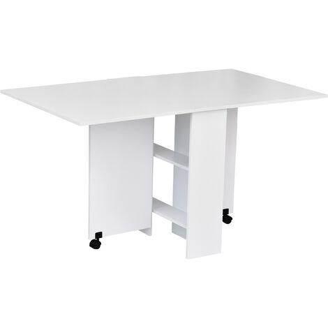 """main image of """"Table de cuisine salle a manger pliable amovible tres pratique en panneaux de particules - Blanc"""""""