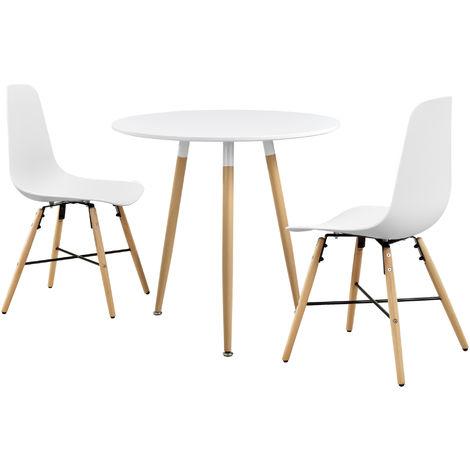 Table de Cuisine Table de Salle à Manger Table à Manger avec 2 Chaises MDF Feuille de Placage Mat Laqué et Plastique Bois Blanc Ø80 x 75cm