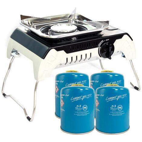 Table de cuisson gaz Piezo 2400W FIVESTAR + 4 Cartouches gaz 450 Gr Pieds pliables Mallette de transport