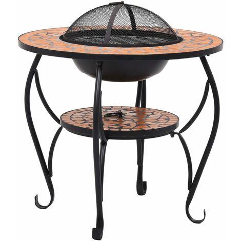 Table de foyer mosaïque Terre cuite 68 cm Céramique
