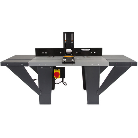 Table de fraisage pour défonceuse (1030 x 360 mm Table de travail, 155 mm Diamètre du pied de la défonceuse, 280 mm de Hauteur de travail, Extensions, Arrêt angle, Interrupteur de securite)