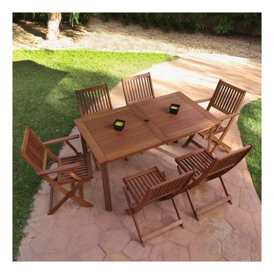 Table de jardin 140cm en bois exotique KORTA - L 140 x l 80 x H 74 ...